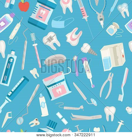 Dental Care Seamless Pattern Vector Illustration. Dental Floss, Teeth, Mouth, Tooth Paste And Medica