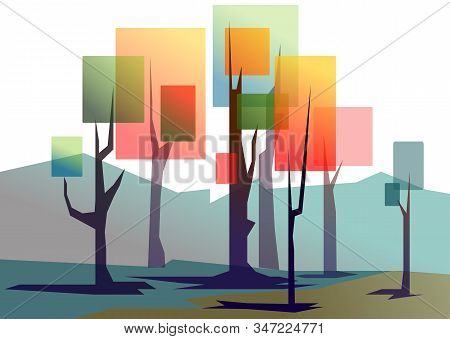 Landscape Of Flat Stylized Trees. Natural Vector Illustration. Side View