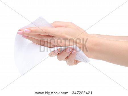 White Napkin In Hand On White Background Isolation