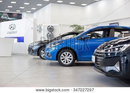 Russia, Izhevsk - January 23, 2020: New Modern Cars In The Hyundai Showroom. Famous World Brand.
