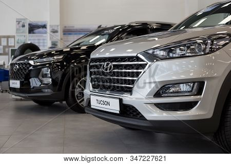 Russia, Izhevsk - January 23, 2020: New Modern Cars - Tucson And Santa Fe In The Hyundai Showroom. F