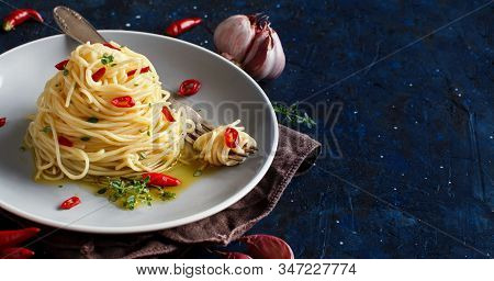 Spaghetti With Garlic, Olive Oil And Hot Red  Pepper Top View