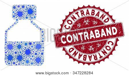 Coronavirus Mosaic Liquid Bottle Icon And Rounded Grunge Stamp Seal With Contraband Text. Mosaic Vec