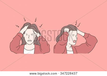 Irritation, Headache, Stress, Tragedy Set Concept. Young Irritated Woman Has Tragedy And Strong Head