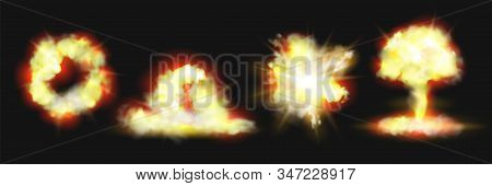 Explosion Blasts, Nuclear Bomb Bangs With Fire And Smog Clouds, Realistic 3d Icons Isolated On Backg