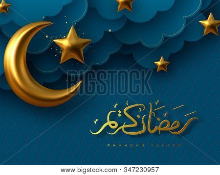 Ramadan Kareem Vector Illustration With 3d Golden Metal Crescent, Stars And Paper Cut Clouds. Handwr