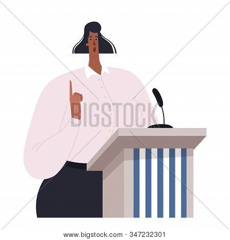 African-american Politician Woman Speaking To Audience From Tribune. Young Girl Politician Standing