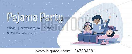 Three Cheerful Kids Of Diverse Race In Blue Nightwear Having Pajama Party. Slumber Party Announcemen