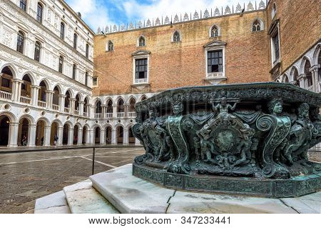 Venice - May 20, 2017: Doge`s Palace Or Palazzo Ducale, Venice, Italy. It Is A Famous Landmark Of Ve