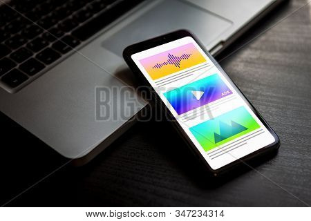 Digital Marketing And Target Native Advertising Closeup Concept On Mobile Phone Screen.
