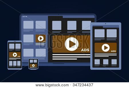 Targeting Native Marketing Concept. Programmatic Advertising With Cross-device And Multi Target Audi