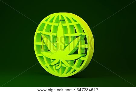 Yellow Legalize Marijuana Or Cannabis Globe Symbol Icon Isolated On Green Background. Hemp Symbol. M