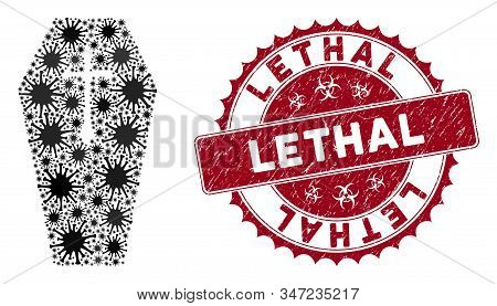 Coronavirus Mosaic Christian Coffin Icon And Rounded Grunge Stamp Watermark With Lethal Phrase. Mosa