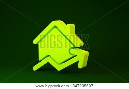 Yellow Rising Cost Of Housing Icon Isolated On Green Background. Rising Price Of Real Estate. Reside