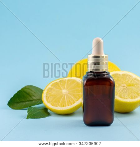 Vitamin C Serum, Citrus Fruit Essential Oil. Beauty Care. Fresh Lemons Bio Oil. Organic Bio Cosmetic