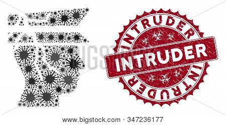 Coronavirus Mosaic Corrupted Police Officer Icon And Round Rubber Stamp Watermark With Intruder Capt
