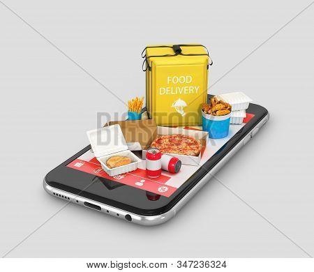 Order Food Online. Pizza Courier Delivery. Ecommerce Concept. 3d Illustration