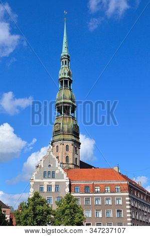 Latvia. Beautiful Architecture Of Riga In A Sunny Summer Day