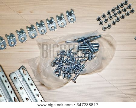 Details For Assembling Furniture On The Floor. Top View Location Of Furniture Assembly Parts On The