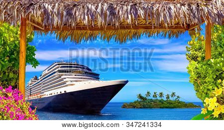 Happy Cruise Concept. Abstract Cruise Ship, Small Island And Tropical Frame