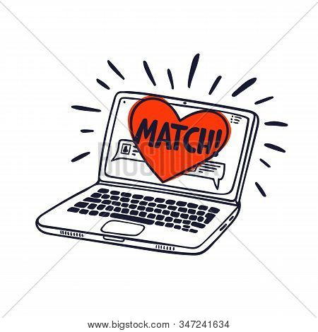 Online Dating Concept. Laptop With Online Dating Application On The Screen. Heart With Match Inscrip