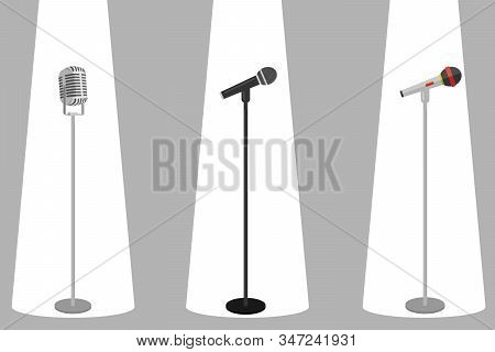 Three Microphones On Counter. Microphone With Stand Vector On White Background. Set Of Microphones O
