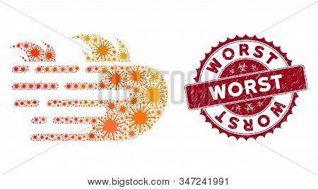 Coronavirus Mosaic Rush Fire Icon And Round Grunge Stamp Watermark With Worst Caption. Mosaic Vector