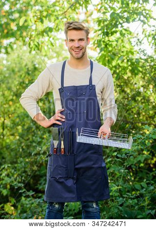 Enjoying Happy Moments. Family Weekend Outing. Summer Picnic. Man Barbecue Grill. Tools For Roasting