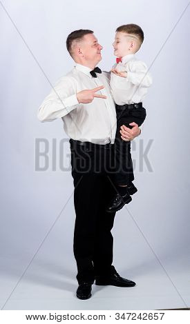 Male Fashion. Parenting. Aristocrat. Happy Child With Father. Business Meeting. Small Boy With Dad G