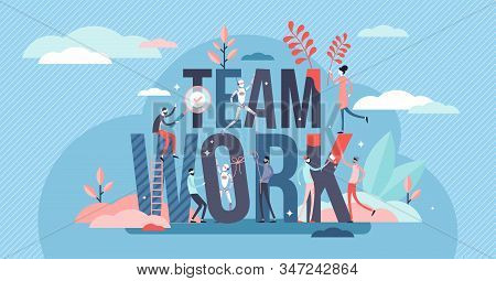 Teamwork Activity Concept, Tiny Person Vector Illustration. Mutual Business Goals And Putting Streng