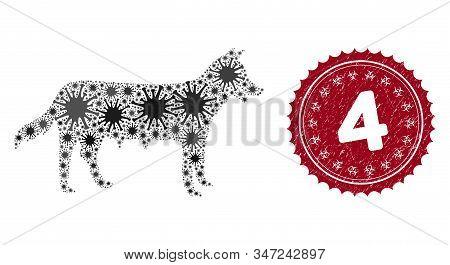 Coronavirus Mosaic Dog Bitch Icon And Rounded Grunge Stamp Watermark With 4 Caption. Mosaic Vector I