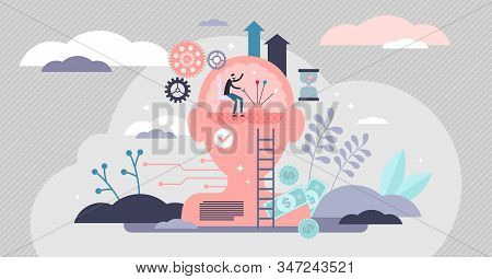 Self Control Mental Process Concept, Flat Tiny Person Vector Illustration. Psychological Activity, L
