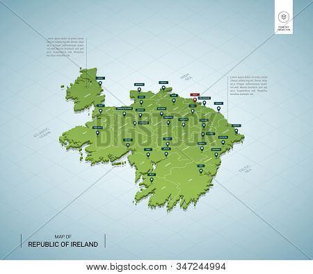 Stylized Map Of Ireland. Isometric 3d Green Map With Cities, Borders, Capital Dublin, Regions. Vecto