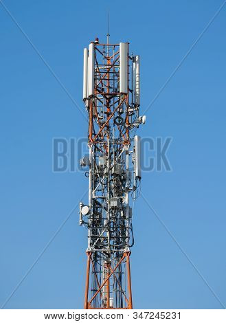 Tower With Relays Of Mobile Telephony And Internet. Telephone Antennas.
