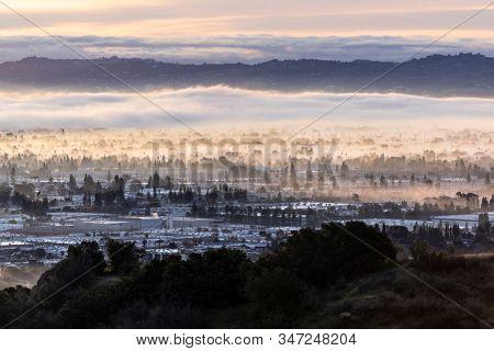 Los Angeles California clearing morning fog.   Photo taken at Santa Susana Pass State Historic Park.