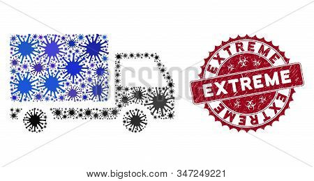 Coronavirus Mosaic Delivery Lorry Icon And Rounded Distressed Stamp Seal With Extreme Text. Mosaic V