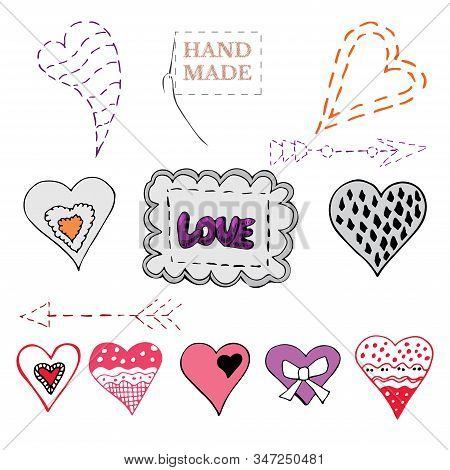 Set Of Hand Drawn Sketch Of  Sewing Hearts, Bows, Arrows And Label. Color Elements Isolated On White