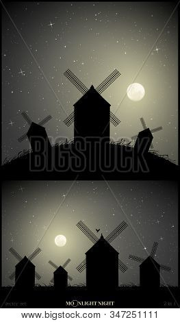 Set Of Vector Illustration With Silhouettes Of Mills On Moonlit Night. Windmills In Field. Summer Ru