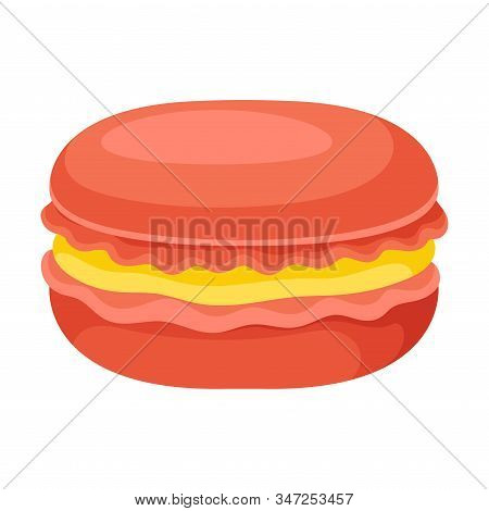 Sweet And Sugary Macaron With Peach Filling Isolated On White Background Vector Illustration