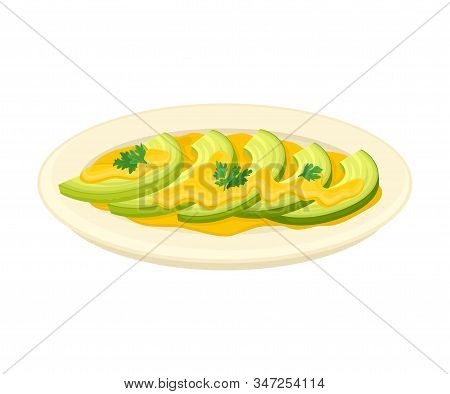 Sliced Squash Vegetable With Cheesy Cream As Topping Served On Plate Vector Illustration