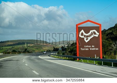 Linhas De Torres Vedras, Portugal - January 19, 2020: Welcome Sign On The Highway To The Town Of Lin