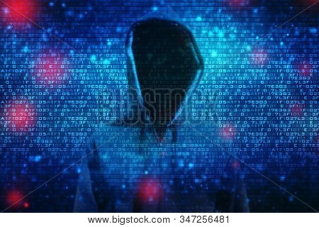Silhouette Of A Hacker Isolated On Black With Binary Codes On Background, Internet Crime Concept. Ha