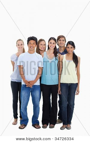 People smiling together against white background