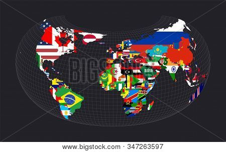 World Flag Map. Armadillo Projection. Map Of The World With Meridians On Dark Background. Vector Ill