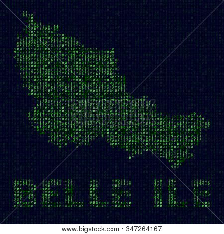 Digital Belle Ile Logo. Island Symbol In Hacker Style. Binary Code Map Of Belle Ile With Island Name