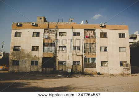 Poor Dirty Building Ghetto Slum City Of Syrian Middle East Dangerous War Region Environment