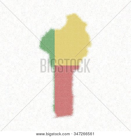 Map Of Benin. Mosaic Style Map With Flag Of Benin. Beauteous Vector Illustration.