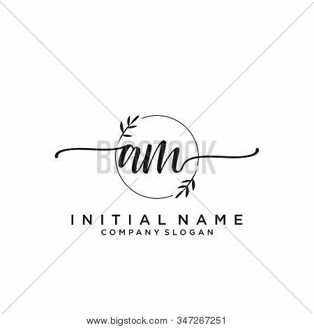 Am Letter Initial Beauty Monogram And Elegant Logo Design, Handwriting Logo Of Initial Signature, We