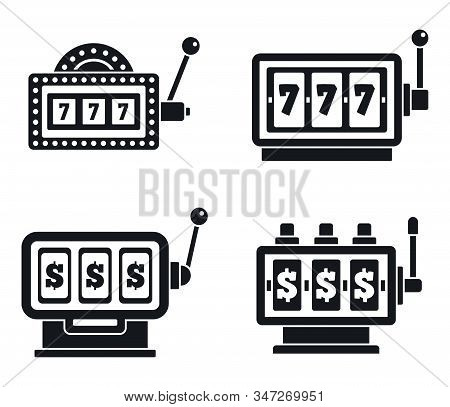 Casino Slot Machine Icons Set. Simple Set Of Casino Slot Machine Vector Icons For Web Design On Whit