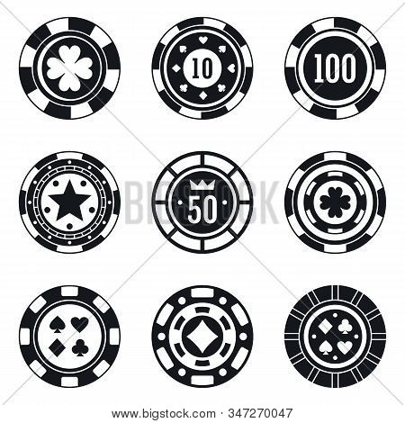 Poker Casino Chips Icons Set. Simple Set Of Poker Casino Chips Vector Icons For Web Design On White